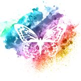 Abstract butterfly design on watercolour texture