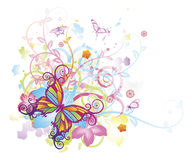 Abstract butterfly floral background. Abstract colourful butterfly background with stylised floral elements, patterns and splashes