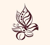 Abstract butterfly on flower. Vector illustration isolated vector illustration