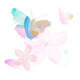 Abstract butterfly and flowers - watercolor style Stock Photo