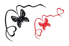 Abstract butterfly and hearts. Abstract black and white butterfly and hearts. Vector illustration Stock Images