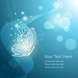 Abstract butterfly with lacy wings on blue background. Vector illustration Royalty Free Stock Photos