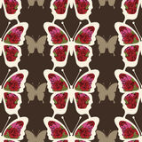 Abstract butterfly with ornaments of roses flowers seamless pattern Royalty Free Stock Photo