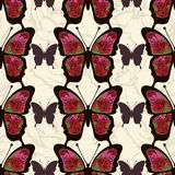 Abstract butterfly with ornaments of roses flowers seamless pattern. Background in style boho, hippie, bohemian. Floral openwork wings exotic insect. For use vector illustration