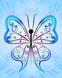 Abstract butterfly. Outline blue background Royalty Free Stock Photo