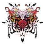 Abstract butterfly with red heart inside. Tribal fantastic butterfly formed by dogs, similar to a lion with colorful splashes Royalty Free Stock Photos