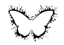 Abstract butterfly silhouette vector icon with splash isolated logo Royalty Free Stock Image