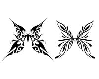 Abstract butterfly tattoo with ornamental wings. Abstract butterfly on white background, Vector illustration Royalty Free Illustration