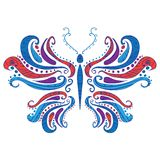 Abstract butterfly, vector illustration. With ornament Stock Images