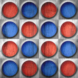 Abstract button pattern - seamless pattern - red-blue color - wo Stock Images
