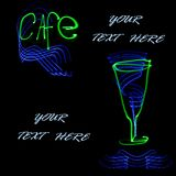 Abstract cafe and goblet. For text, obtained with a freezelight photographic style Stock Photo