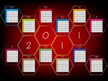 Abstract calendar 2011. With hexagons, vector art illustration vector illustration