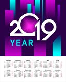 Abstract calendar 2019 year. Abstract neon vector background of luminous geometric shapes on a dark background, calendar 2019 year Stock Photography