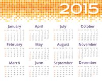 Abstract 2015 calendar with yellow pixel border. Abstract sample of calendar 2015 with yellow pixel border. Vector illustration Stock Images