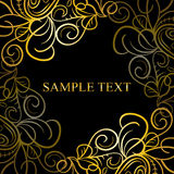 Abstract calligraphic retro luxury swirl corner frame with place for text. Can be used for page decoration, web design. Stock Photos