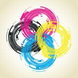 Abstract camera lens. Cmyk abstract camera lens background Royalty Free Stock Image