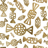 Abstract candy seamless pattern. Gold candies background. Royalty Free Stock Image