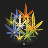 Abstract cannabis leafs. Abstract colorful cannabis leafs on dark background Stock Photo