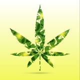Abstract cannabis leaves. Abstract green cannabis leaves on yellow background Stock Photos