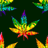 Abstract Cannabis Seamless Pattern. Background Vector on green Stock Photo