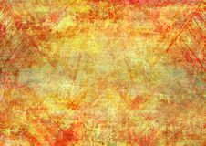 Brush Scratch Yellow Red Strokes Canvas Abstract Painting Grunge Rusty Distorted Decay Old Texture for Autumn Background Wallpaper royalty free stock photos