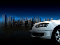 Abstract car. On a city background stock photos