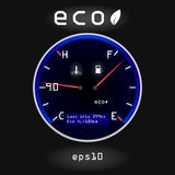 Abstract car fuel and temperature gauge on black background Stock Photo