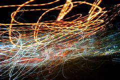 Abstract car lights at dark night background. Stock Photography