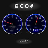Abstract car speedometer and tachometer on black background Stock Photo