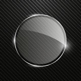 Abstract carbon background with transparent round glass banner. Vector illustration Stock Images