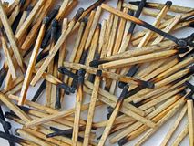 Abstract carbonized wooden matches heap, stress,. Abstract carbonized wooden matches heap, environment details Stock Images