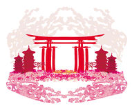 Abstract card with Asian buildings and cherry blossoms. Illustration royalty free illustration