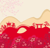 Abstract card with Asian buildings Royalty Free Stock Images