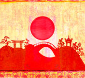 Abstract card with Asian buildings Royalty Free Stock Image