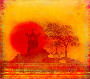 Abstract card with Asian buildings Royalty Free Stock Photography