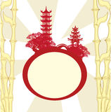 Abstract card with Asian buildings Stock Photos