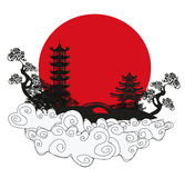 Abstract card with Asian buildings. Vector Illustration stock illustration