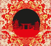 Abstract card with Asian buildings. Vector Illustration Stock Photography