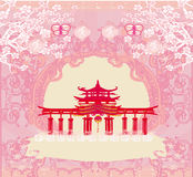 Abstract card with Asian buildings , vintage frame Royalty Free Stock Image