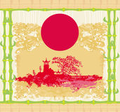 Abstract card with Asian buildings, vintege frame Stock Photography