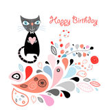 Abstract card with a cat Stock Photo