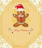 Abstract card with Christmas gingerbread Royalty Free Stock Images