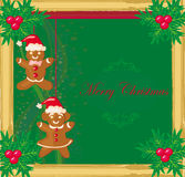 Abstract card with Christmas gingerbread Stock Images