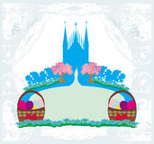 Abstract card, church and Easter eggs Royalty Free Stock Photography