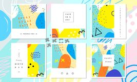 Abstract card collection. Beautiful art painting colored with hand drawing element for social media banner, thank you card. Abstract card collection. Beautiful royalty free illustration