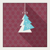 Abstract Card With Colorful Christmas Tree. Snowflakes Pattern And Long Shadow Stock Images