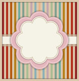 Abstract Card With Flower And Colorful Retro Striped Background. Abstract Card With Delicate Flower And Colorful Retro Striped Background Stock Photo