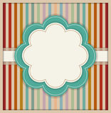 Abstract Card With Flower And Colorful Retro Striped Background Stock Photos