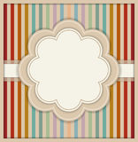 Abstract Card With Flower And Colorful Retro Striped Background Stock Photo