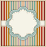 Abstract Card With Flower And Colorful Retro Striped Background Royalty Free Stock Image